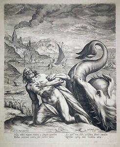 Kupferstich, Jonah und der Wal, D. Barendsz./ J. Sadeler, um 1580, Hollstein 129