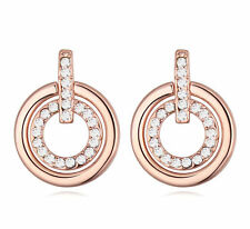Luxury 18K Rose Gold GP Dangle Round Earrings with Swarovski Crystals New