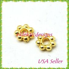 200pcs 4mm Gold Plated Metal Tibetan Style Daisy Bead Spacers Findings Earrings