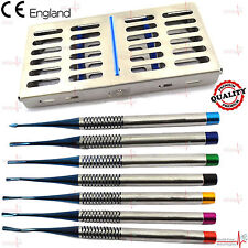 PDL Luxating Root Elevators Serrated Tip Implants Dental with Sterilization Tray