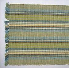 "MEADOW BROOK 13"" x 36"" Cotton Table Runner Blues, Greens, Cream Stripe"