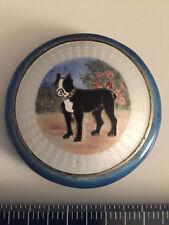 BULL DOG IN GARDENSilver/wGold wash Blue Enamel & Guilloche Compact Mark BB Co
