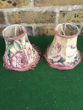 Pair Of Small Vintage Floral Pattern Lampshades (3rd Set)