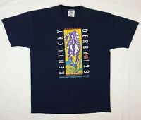 Vtg 90s Kentucky Derby 123 Mens Dark Blue S/S T-Shirt Sz Large A7
