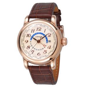 43mm CORGEUT Luxury white dial Rose Gold Dial GMT Automatisch Uhr men's Watch