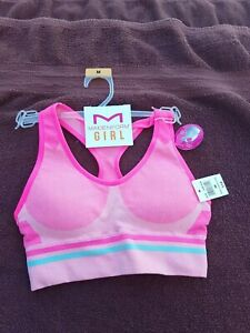 NWT Maidenform Girl Seamfree Pink Padded Cup Performance Sports Bra Size M L XXL