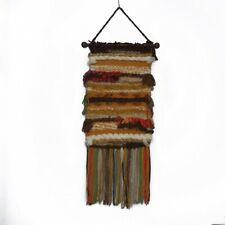 Vintage 1970 Macrame Wall Hanging Colorful Mix Fiber Wooden Art Hippie Boho