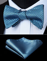 Men Woven Blue Check&Plaid Self Bow Tie Pocket Square Butterfly Silk Set#BC614BS