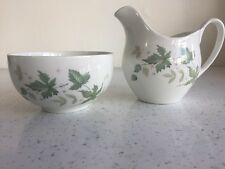 Snowhite Green Leaves Milk Creamer And Sugar Bowl Johnson Brothers