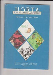 Catalogue Vente aux enchères HORTA 11 octobre 2000. BD objets, planches...