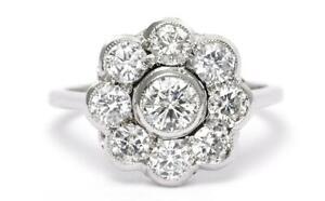 Diamond Daisy Cluster Ring 1.60ct Platinum