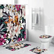 Floral Bathroom Rug Set Shower Curtain Thick Bath Mat Non-Slip Toilet Lid Cover