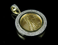 2.00 ct 14k Solid Yellow Gold Over Coin Lady Liberty Diamond Pendant Charm 1.2""