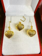 18K Fine Saudi Gold Set Women's Heart Earring & Pendant Only