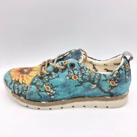 Goby Womens Espadrille Fashion Sneakers Blue Floral Lace Up Shoes EUR 39