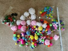 Bundle of craft items pom poms wool small embellishments pockets unfinished