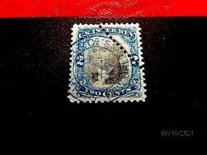 R104 2c diag perfs, 1871 blue yd dlc, f-vf