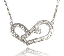 Herzen Halskette Herz Collier mit Swarovski Kristallen Zirkonia 18K Weißgold pl