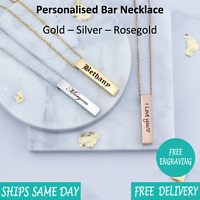 Custom Personalised Engraved Name Date Bar Necklace Rose Gold Silver - Vertical