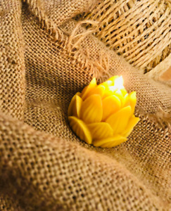 Handmade 100% Beeswax Lotus Flower Votive Candle, yoga, peace, calm, tranquil