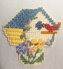 Fridge Magnet Birdhouse Handmade Glass Beads Finished Mill Hill Cross Stitch