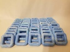 "Lot of 50 Square 2"" Two Inch Light Blue Plastic Marbella Macrame Craft Rings"