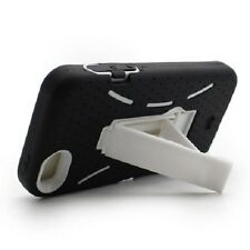 For Apple iPhone 5 Impact Hard Rubber Case Phone Cover Kick Stand Black White