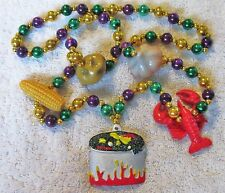 "Fancy ""Crawfish Boil"" All the Fixin'S Mardi Gras Handstrung Necklace Bead (B361)"