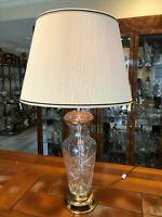 "Vintage Mid Century Marbro Heavy Cut Crystal Table Lamp, 35"" Tall, 7"" Widest"