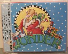 Mary Engelbreit Pkg 6 Christmas Notecards Wonder Santa Child Presents New 2012