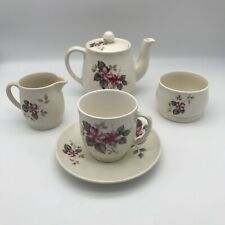 More details for sylvac teaset teapot cup saucer milk sugar jug avon shape floral pattern no 3238