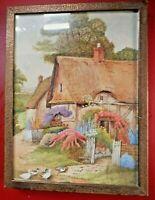 Antique Arts & Crafts  Devon Cottage Painting in Hammered Copper Picture Frame