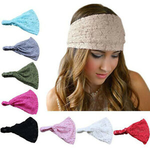 Solid Color Soft Head Wrap Elastic Band Lace Headband Fashion Hair Accessories