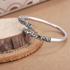 Gifts Men Vintage Jewelry Thai Silver Bracelet Bangle Open Cuff Women