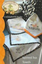 Crabapple Hill Embroidery  'SPIRITED TEA TOWELS' Halloween or fall, cat pumpkins
