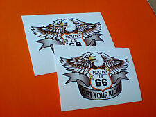 ROUTE 66 Get Your Kicks Retro Car Hot Rod Motorhome Stickers Decals 2 off 80mm