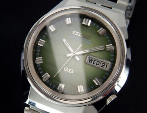 Working Seiko 5 Actus 1973 Vintage Automatic Mens Green watch 6106 uhr montre