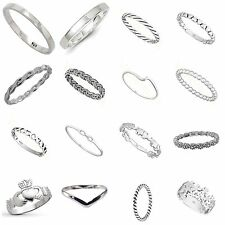 Solid 925 Sterling  Silver  Simple Stacking Midi Ring  Knuckle Band