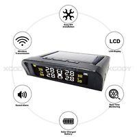 Solar Wireless TPMS Car Tire Pressure LCD Monitoring System 4 Internal Sensors