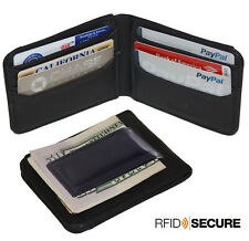 RFID Block Black Leather Mens Magnetic Bifold Money Clip Wallet ID Badge Holder