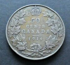 1914 OLD SILVER CANADA 50 CENTS COIN, VERY GOOD CIRCULATED CONDITION, LOT#119