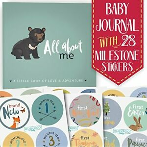 RubyRoo Baby Memory Book Baby Journal and Monthly Milestone Stickers Set   Ba...