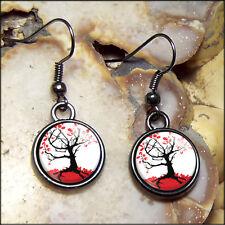 Small Gothic Japanese Cherry Blossom Tree Gunmetal Black Glass Horror Earrings