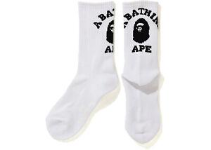 New A Bathing Ape Bape Japanese College Custom Cotton Crew Sport Socks White