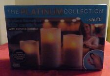 THE PLATINUM COLLECTION 3-PIECE FLAMELESS LED CANDLE SET - WITH REMOTE CONTROL