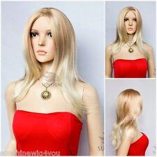 High Quality long Natural Wave blonde mixed wig women wigs 100% Kanekalon