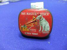 needle tin gramophone hmv his masters voice loud tone advert record player