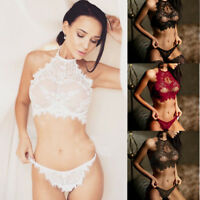 Women Sexy Lingerie Babydoll Lace Underwear G-string Nightwear Sleepwear Bra Set