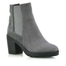 Womens Chelsea BOOTS Elastic Gusset Zip Ladies Platform Block Heel Ankle Shoes UK 3 / EU 36 / US 5 Grey Synthetic Leather