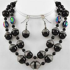 Black Hematite Layered Pearl AB Crystal Earrings Necklace Jewelry Set Classic